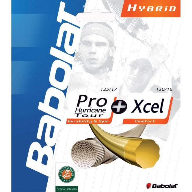 Babolat Hybrid Pro Hurricane Tour / Xcel Tennis String Set 1.25mm / 1.30mm