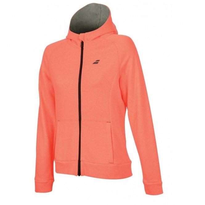 Babolat Ladies Core Hood Sweat Zipped Jacket - Fluo Strike