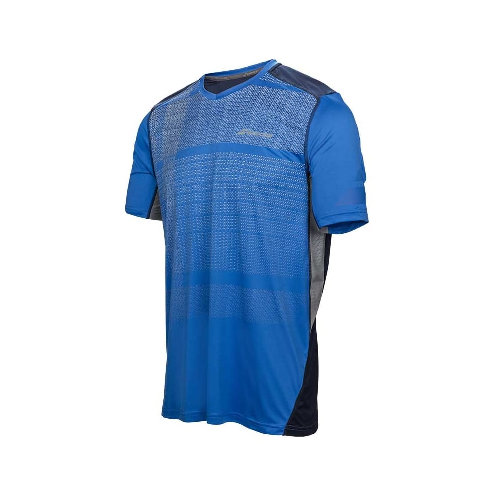 563c112897e0 Babolat Performance V-Neck T-Shirt 2017 Blue @ MDG Sports