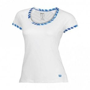 Womens Tulip Cap Sleeve Top - White/Blue